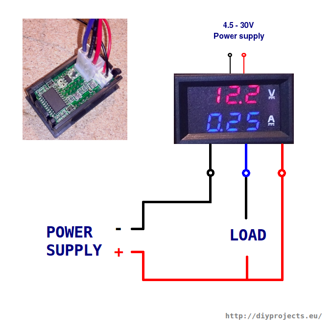 how to wire digital dual display volt and ammeter diy projects rh diyprojects eu Digital Amp Meter Display digital volt amp meter wiring diagram