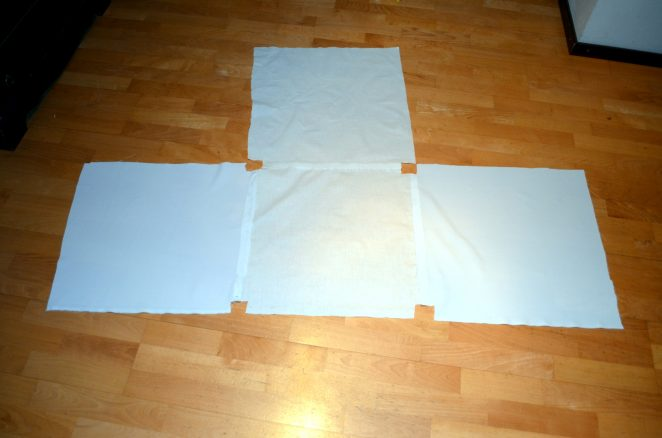 DIY lightbox fabric laid out