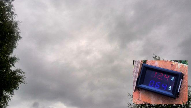 diy solar panel testing with cloudy sky
