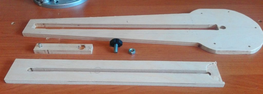 Adjustable circle cutting jig for router ready to be assembled