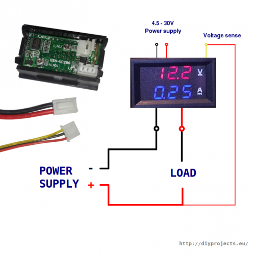 10A / 100V volt- and ammeter wiring with thick red, black wires and thin black, red, and yellow
