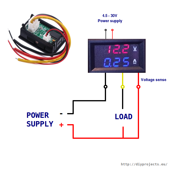 how to wire digital dual display volt and ammeter diy projects10a 100v volt and ammeter wiring with thick red, black and yellow wires and thin black and red