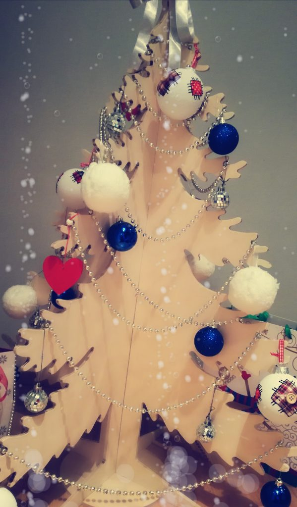 DIY plywood Christmas tree decorated