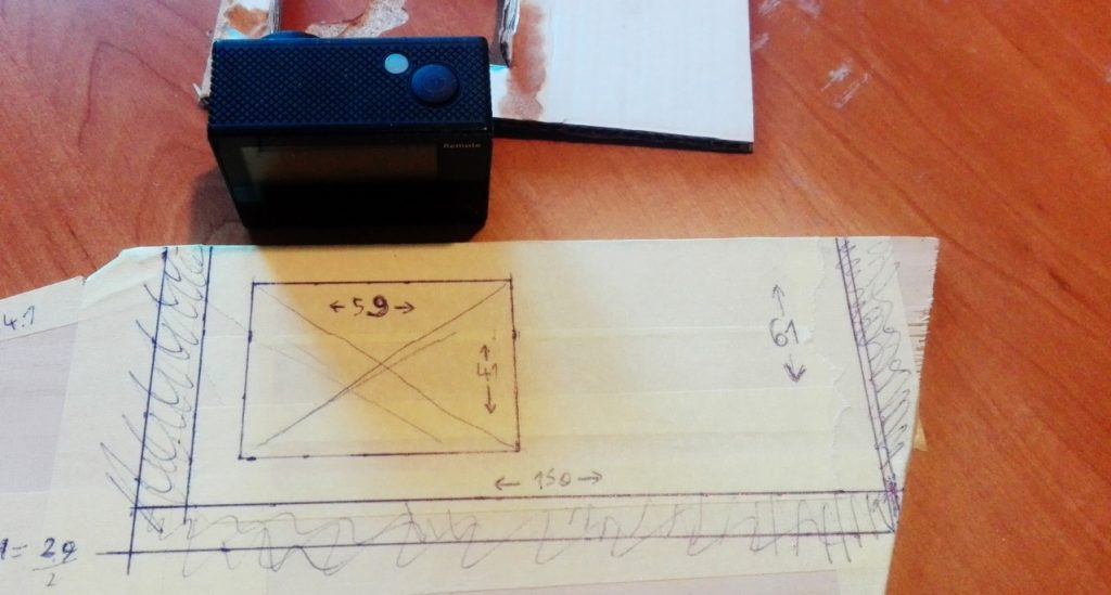 Adapter template measured out on plywood